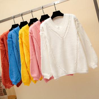 Модерен дамски пуловер с V-образно деколте в няколко цвята