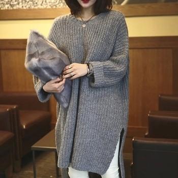 Дамски плътен пуловер асиметричен  модел  в сив цвят