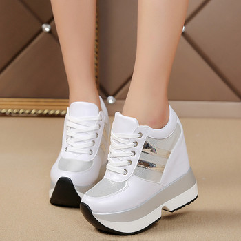 Μοντέρνα γυναικεία πάνινα παπούτσια  με ψηλή πλατφόρμας σε δύο χρώματα