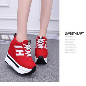Дамски модерни маратонки на висока подметка в червен и черен цвят