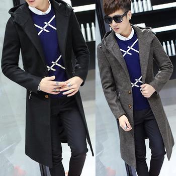 Дълго мъжко стилно палто с качулка в няколко цвята - два модела