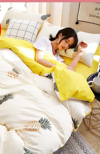 Памучен спален комплект от четири части с десен ананаси