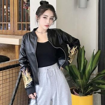 Дамско яке от еко кожа с бродерия в черен цвят