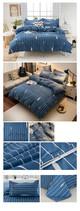 Спално бельо в син десен на райе с надпис- четири размера