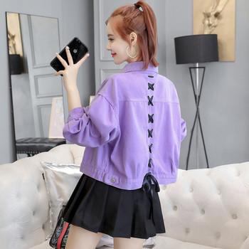Дамско дънково яке с кръстосани връзки в три цвята