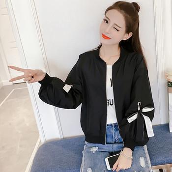 Дамско яке с широки ръкави и панделки в бял и черен цвят