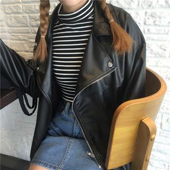 Широк модел дамско яке от еко кожа в черен цвят