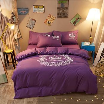 Луксозно спално бельо в два цвята с корона