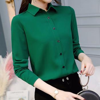 Елегантна дамска риза с дълъг ръкав от шифон в зелен цвят