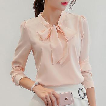 Елегантна дамска риза от шифон с дълъг ръкав и панделка в два цвята