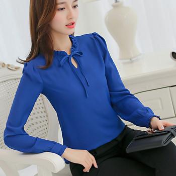 НОВ модел стилна шифонена дамска риза в четири цвята