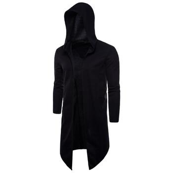 Дълга мъжка жилетка с качулка в черен цвят