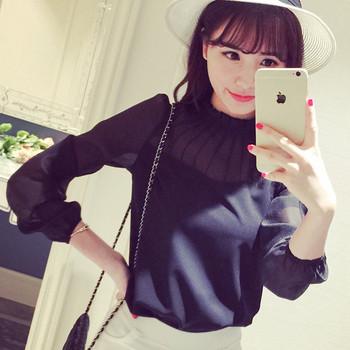 Елегантна дамска шифонена блуза с дълъг ръкав в черен и бял цвят