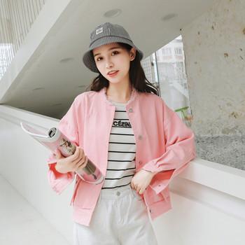 Γυναικείο μπουφάν τζιν σε δύο χρώματα - λευκό και ροζ