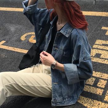Γυναικείο μπουφάν τζιν σε σκούρο μπλε χρώμα