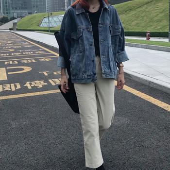Дамско дънково яке в тъмносин цвят