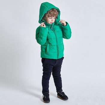 Детско зимно яке за момчета с качулка в зелен цвят