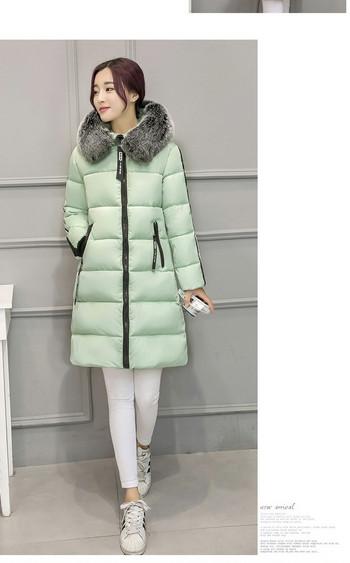 НОВ модел зимно дълго яке за дамите с качулка и пух в четири цвята