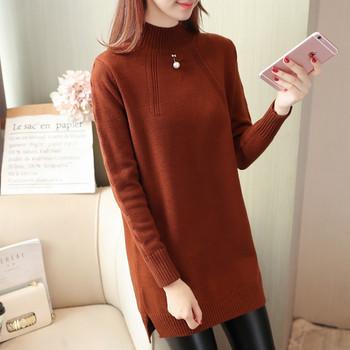 Дамски плътен пуловер в пет цвята