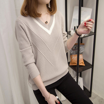 Модерен дамски пуловер с V-образно деколте в пет цвята