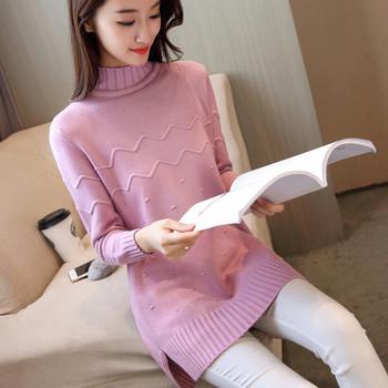 Модерен дамски пуловер с висока яка в 5 цвята