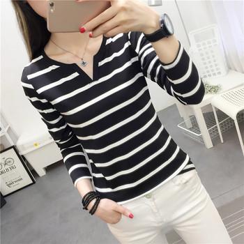 Дамска блуза с дълъг ръкав с V-образно деколте в два цвята