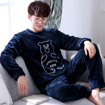 Мъжка плътна мека пижама с щампа в няколко модела