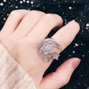 Дамски модерен пръстен с малки декоративни камъни в два цвята