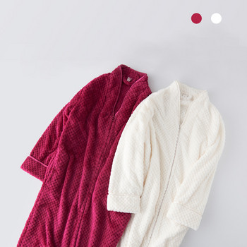 Дълъг плътен халат с цип в няколко цвята