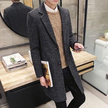 Модерно мъжко дълго палто с джобове