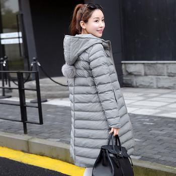 Дълго зимно дамско яке с качулка в два цвята