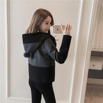 Дамско модерно яке с качулка и пух