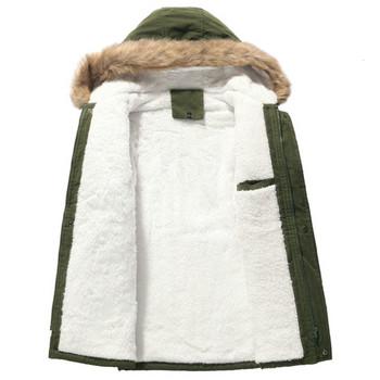 Зимно мъжко яке с качулка и пух в три цвята