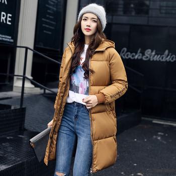 Дълго зимно дамско яке с качулка в няколко цвята