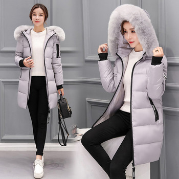 Зимно дамско дълго яке с пух с няколко цвята