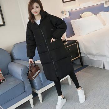 Дълго зимно дамско черно яке с качулка