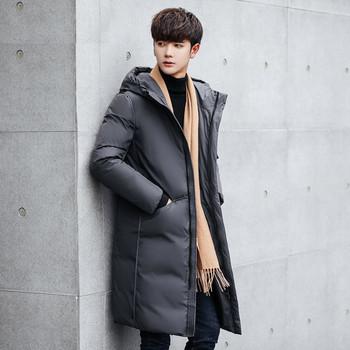 Зимно мъжко дълго яке с качулка в черен и сив цвят