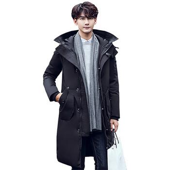 Дълго мъжко яке с джобове и качулка в черен и тъмносин цвят
