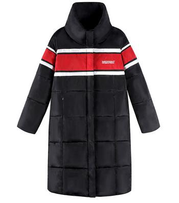 Μακρύ ανδρικό μπουφαν κατάλληλο για άνδρες και γυναίκες σε μαύρο και κόκκινο χρώμα
