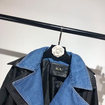НОВО модерно дамско яке от еко кожа и деним