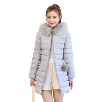 Дълго дамско зимно яке с качулка в няколко цвята