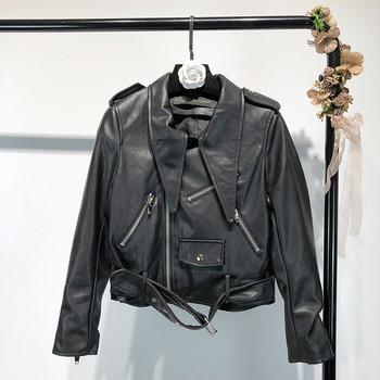 Модерно дамско яке от еко кожа с ципове в черен цвят
