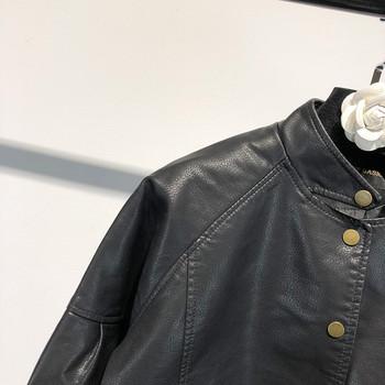 НОВО модерно дамско яке от еко кожа с копчета и джобове в черен цвят