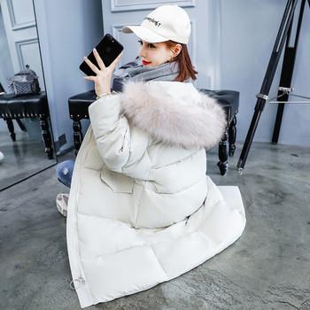 Зимно дълго дамско яке в три цвята