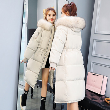 Μακρύ χειμωνιάτικο γυναικείο μπουφάν με οικολογική γούνα σε τρία χρώματα