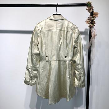 Μοντέρνο γυναικείο δερμάτινο μπουφάν σε ασημί και χρυσό χρώμα