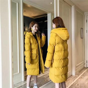 Дълго дамско яке в жълт цвят