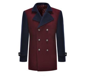 Актуално мъжко палто с копчета в тъмночервен цвят