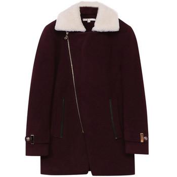 Модерно мъжко палто със страничен цип и пухена яка