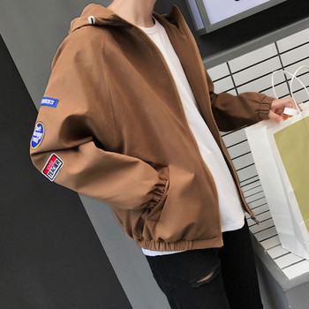Есенно мъжко яке с апликации и качулка в няколко цвята